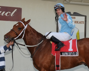 Ramon Dominguez and Haynesfield after winning the Whirlaway in 2009. NYRA/Adam Coglianese