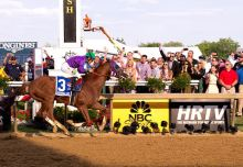 California Chrome & Victor Espinoza win the 139th Preakness. Photo credit Jerry Dzierwinski/Maryland Jockey Club