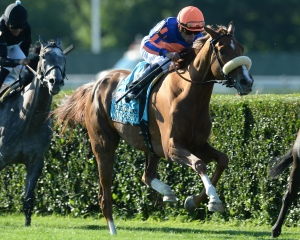 Minorette under Joel Rosario captures the Belmont Oaks. Photo credit NYRA/Adam Coglianese