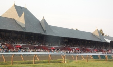 Saratoga grandstand from infield
