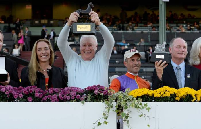 Forbes 400 member B. Wayne Hughes celebrates Beholder's 2013 Breeders' Cup Distaff victory. Photo credit Breeders' Cup Ltd.