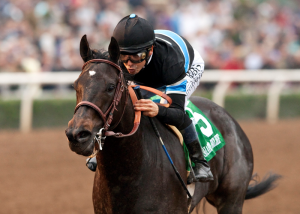 Shared Belief and Mike Smith cruise to victory in the Robert B. Lewis. Benoit photo.