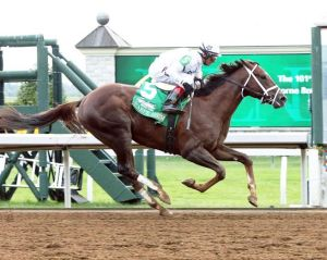 Carpe Diem and John Velazquez at Keeneland.  Credit Keeneland photo.