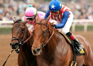 Dortmund and Mike Smith prevail over Firing Line in the Robert B. Lewis. Benoit photo.