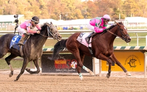 Phlash Phelps & Victor Carrasco take the Maryland Million Turf. Photo Jim McCue/Maryland Jockey Club