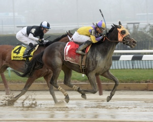 Saythreehailmary's and Manny Franco take the Ladies Handicap. Photo credit NYRA