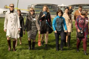 Walking the course at Aintree.  Photo courtesy Women in Racing.