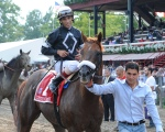 Commentator and John Velazquez at Saratoga. NYRA/Adam Coglianese