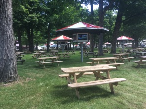 Saratoga backyard picnic tables