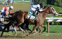 Will Take Charge and Luis Saez winning the 2013 Travers. NYRA/Adam Coglianese.