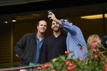 Noah Syndergaard and Robert Gsellman, with unidentified friend, at Belmont Park. NYRA photo