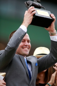 Chad Brown celebrates Lady Eli's 2014 Breeders' Cup win. Photo: Breeders' Cup Ltd.