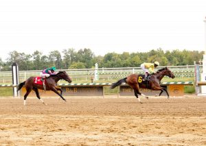 Dancing Rags, Angel Cruz up, breaks her maiden at Laurel. Photo: Jim McCue/MJC
